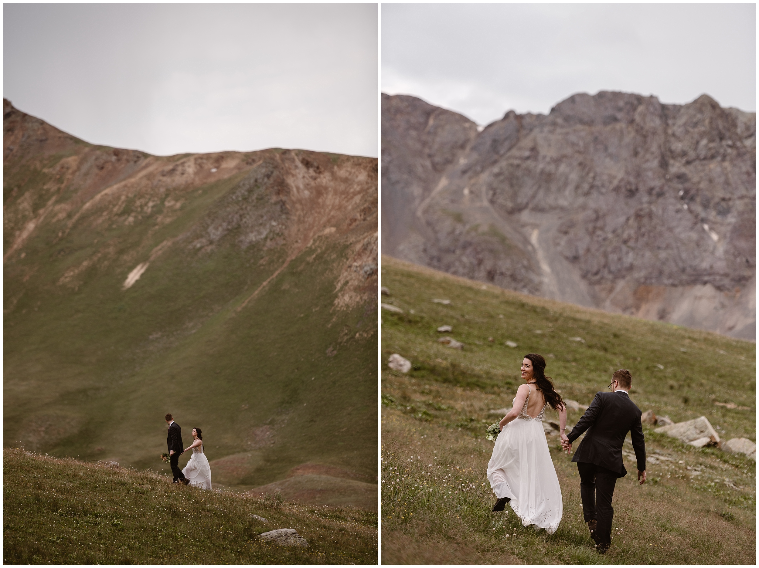These side-by-side elopement pictures show Katie and Logan, the bride and groom, hiking up a green meadow toward the top of a basin in Ouray, Colorado, where they'll have their own secluded elopement ceremony. This adventure photography was captured by Adventure Instead, an elopement wedding photographer.