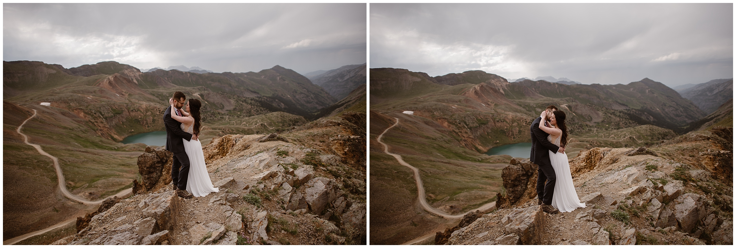 These side-by-side elopement pictures captured by Adventure Instead show the bride and groom, Katie and Logan, as they embrace at the top of a mountain peak. Beneath them, a turquoise alpine lake is at the bottom of the basin, To the left of them near the bottom of the basin is an off-road 4x4 trail that their Jeep wedding car drove them up to get to this spot.