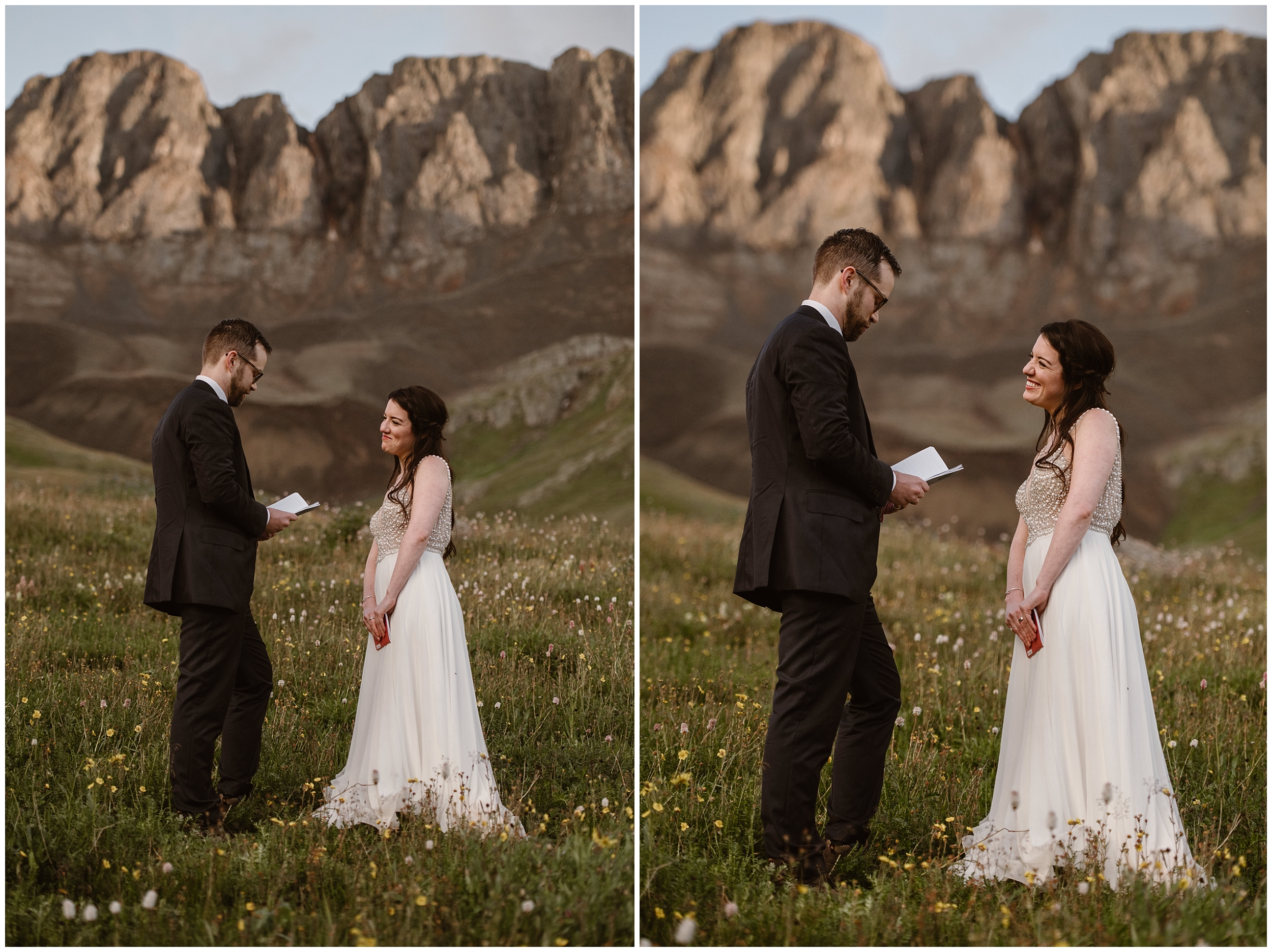 These side-by-side elopement photos show Katie and Logan exchanging their vows during their elopement ceremony as a part of their Colorado mountain wedding. In the photo on the left, Katie smirks at Logan as he read his vows to her from a notebook in his hands. in the photo to the right, Katie gives Logan a giant smile as he continues to read his vows.