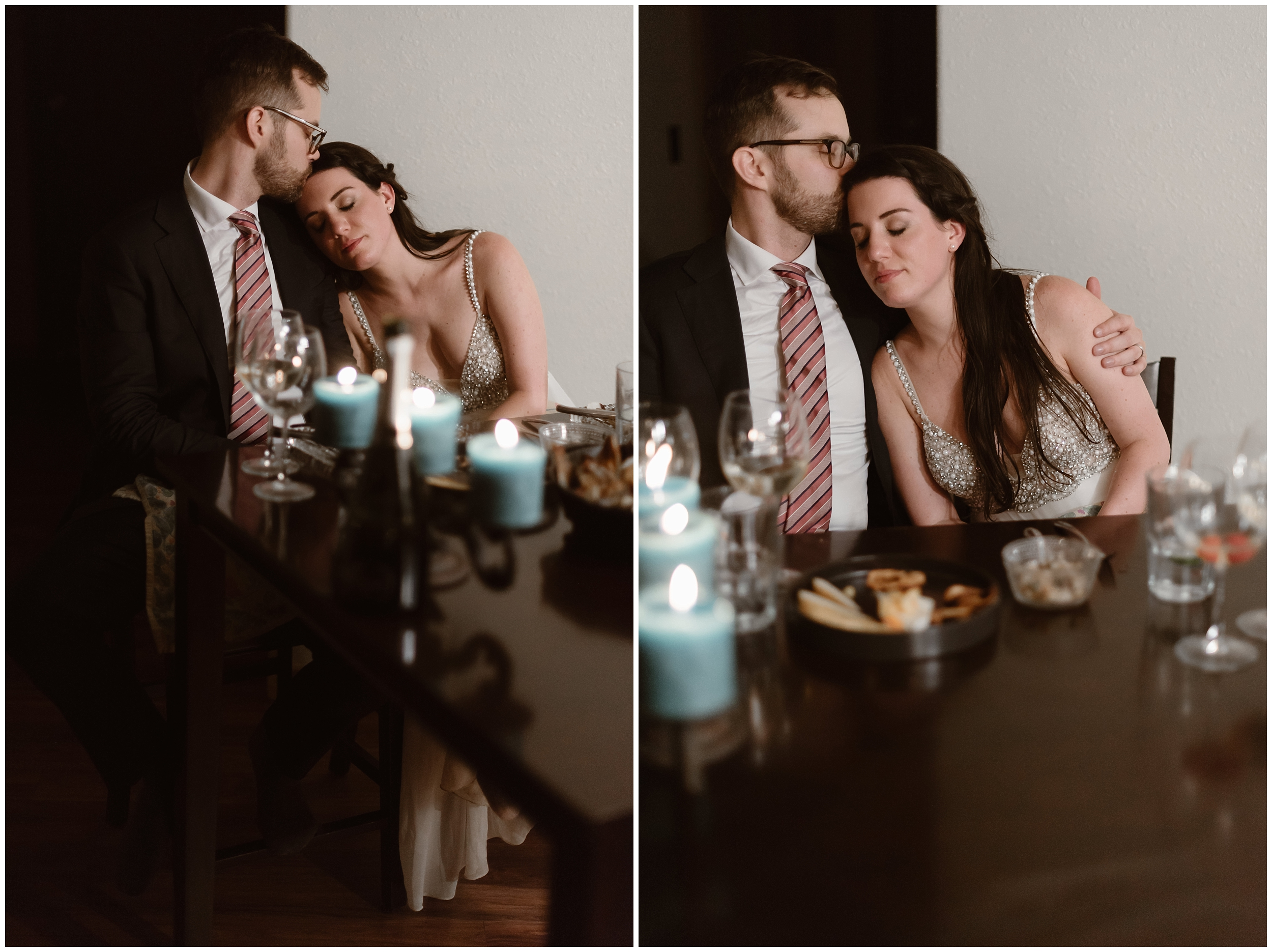 These side-by-side elopement photo show Katie and Logan, the bride and the groom, sitting at the table in their Airbnb after their elopement ceremony. Exhausted but happy, the two snuggle close. In the photo to the left, Logan kisses Katie on the forehead. In the elopement picture on the right, the two snuggle in close and wait for their reception after eloping dinner.