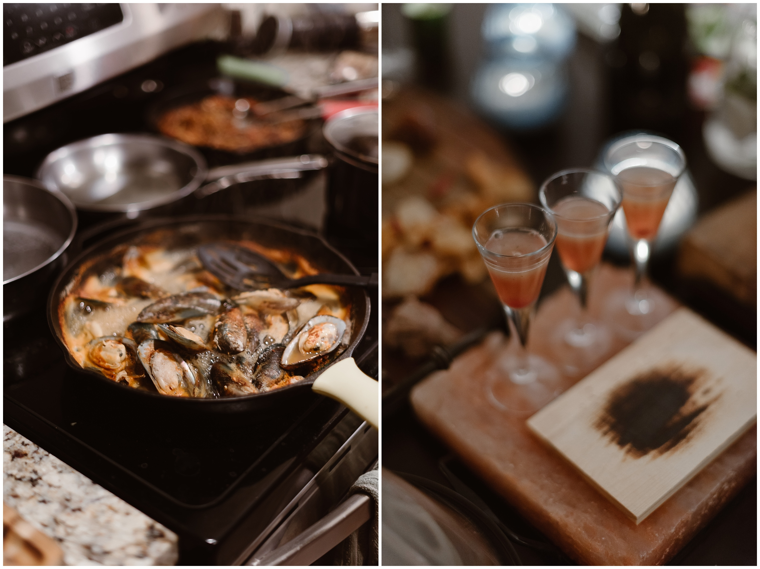 In these side-by-side elopement photos taken by Adventure Instead, the food Katie and Logan hired gourmet chefs to cook is being prepared for the party after eloping. In the photo on the left, a skillet full of mussels cooks. On the right, small glasses are filled with a pink-orange beverage.