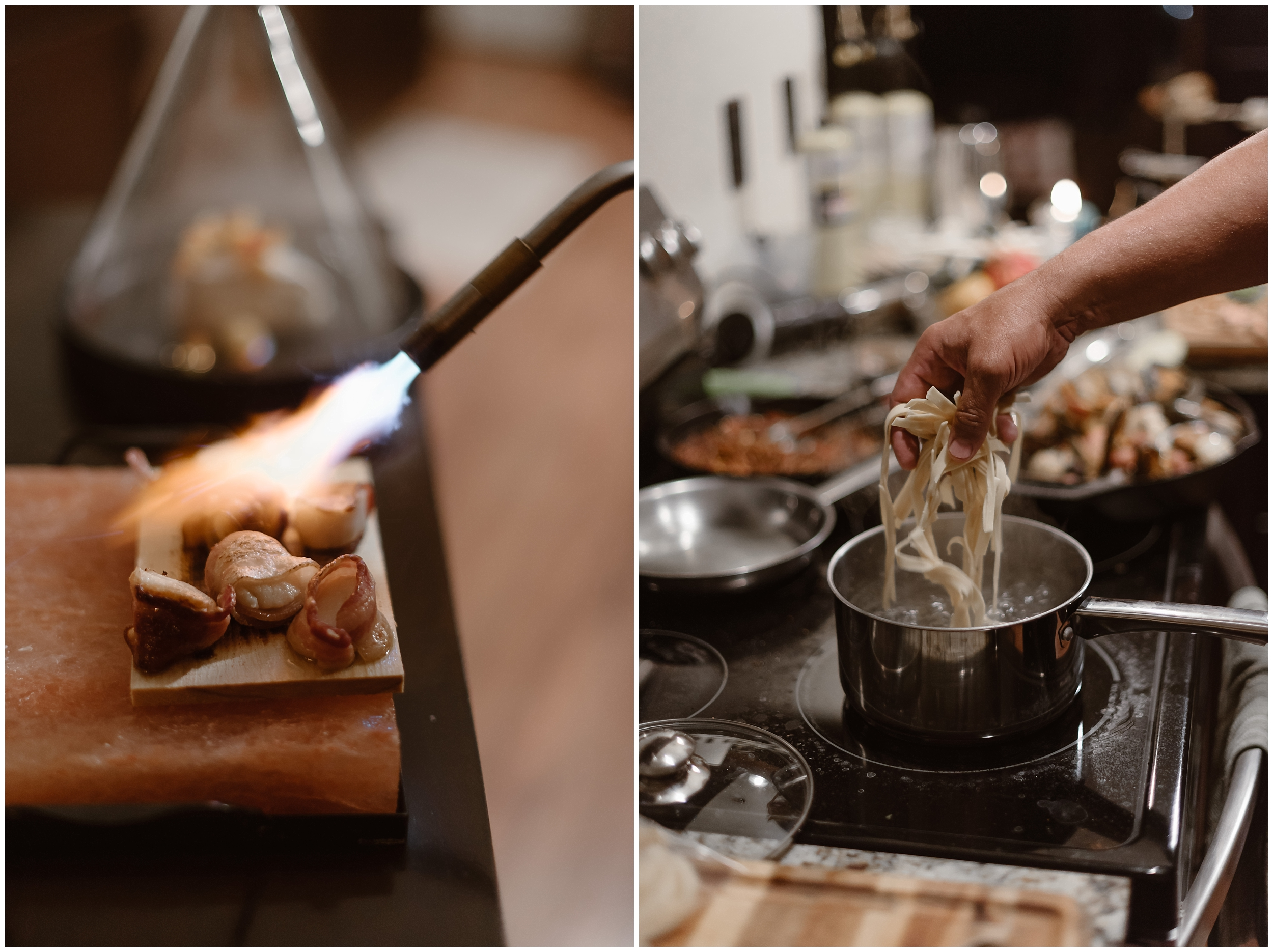 In the side-by-image, food is being prepared by private chefs for Katie and Logan's secluded reception after elopement at their Airbnb in Ouray, Colorado. In the adventure elopement photo on the right, the chef drops noodles into a boiling pot of water. In the photo on the left, a chef uses a blowtorch to scorch bacon wrapped mussels.