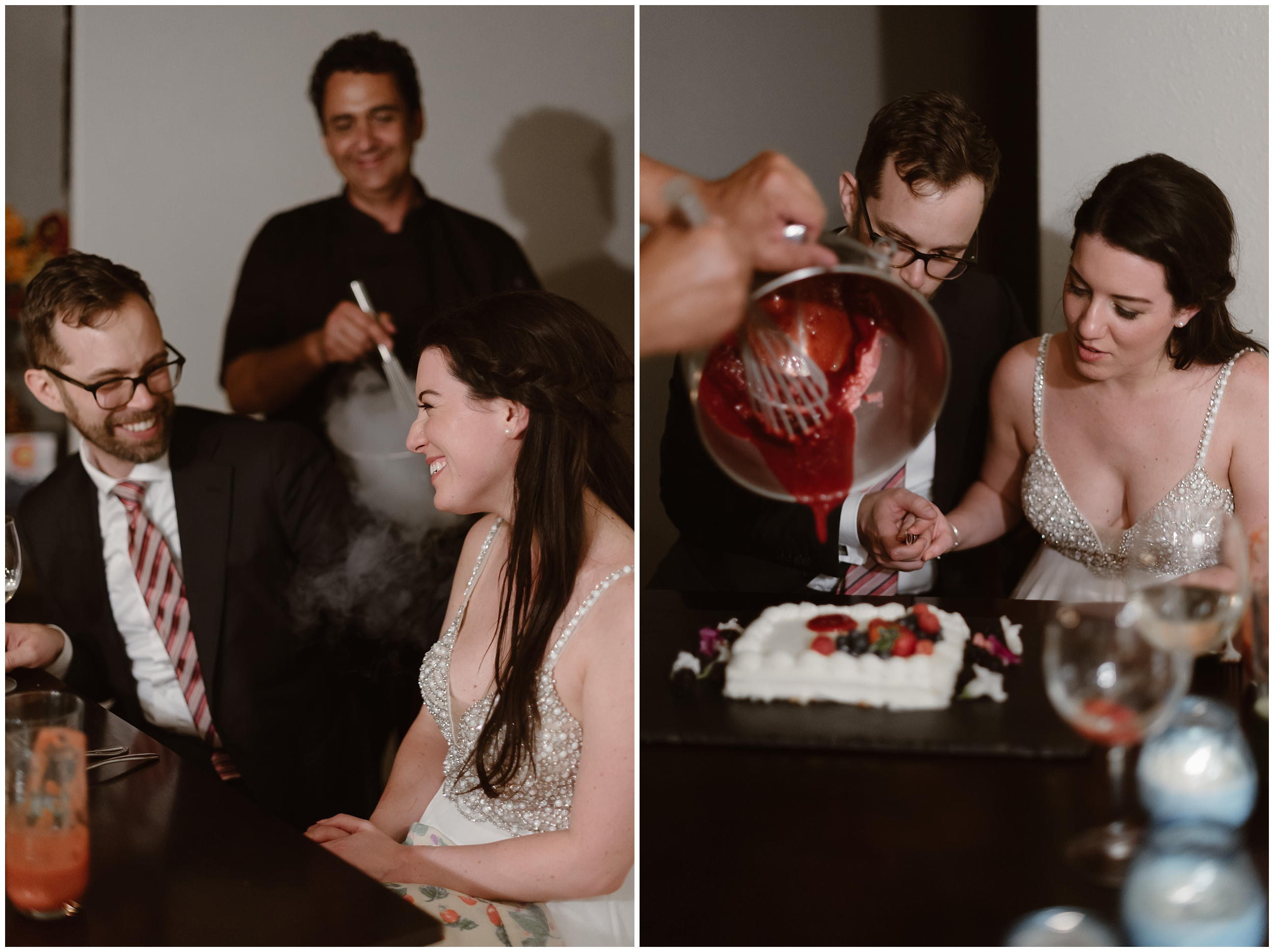 In these side-by-side elopement pictures, the bride and groom watch as the private chef they hired for their reception after eloping pours a delicious strawberry sauce on top of their white wedding cake.