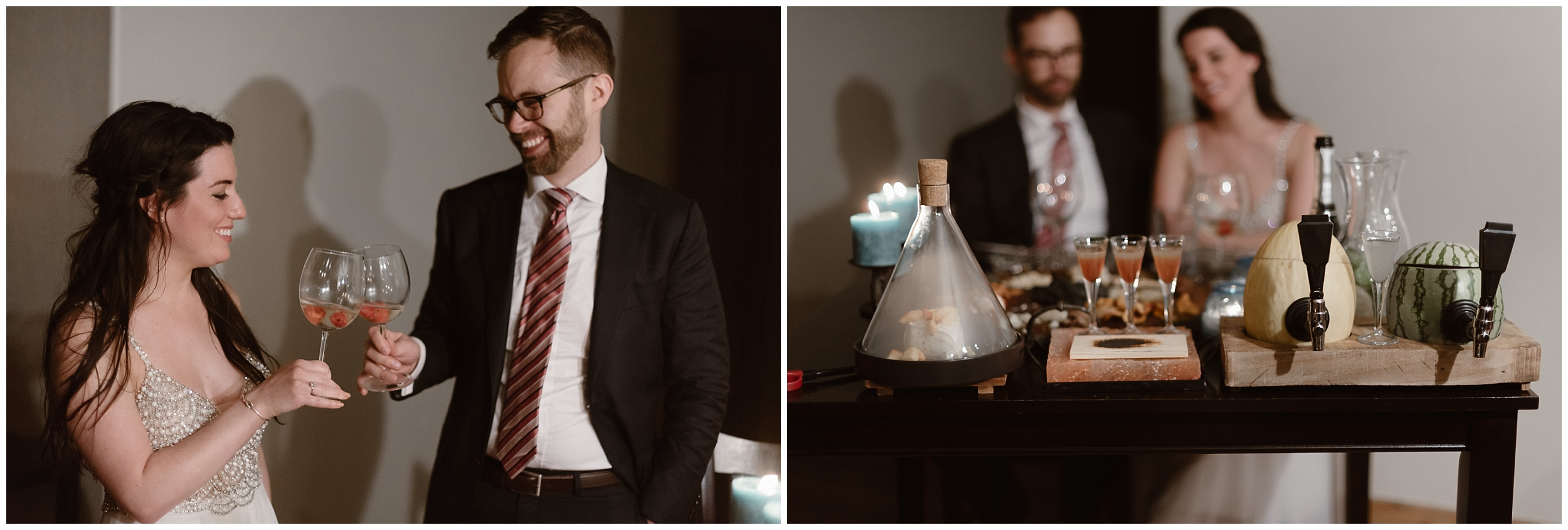 In these side-by-side elopement photos, Katie and Logan, the bride and groom, celebrate their Colorado mountain wedding with a party after eloping. In front of them is a table full of delicious food and drinks. They clink their glasses to toast their reception after eloping.