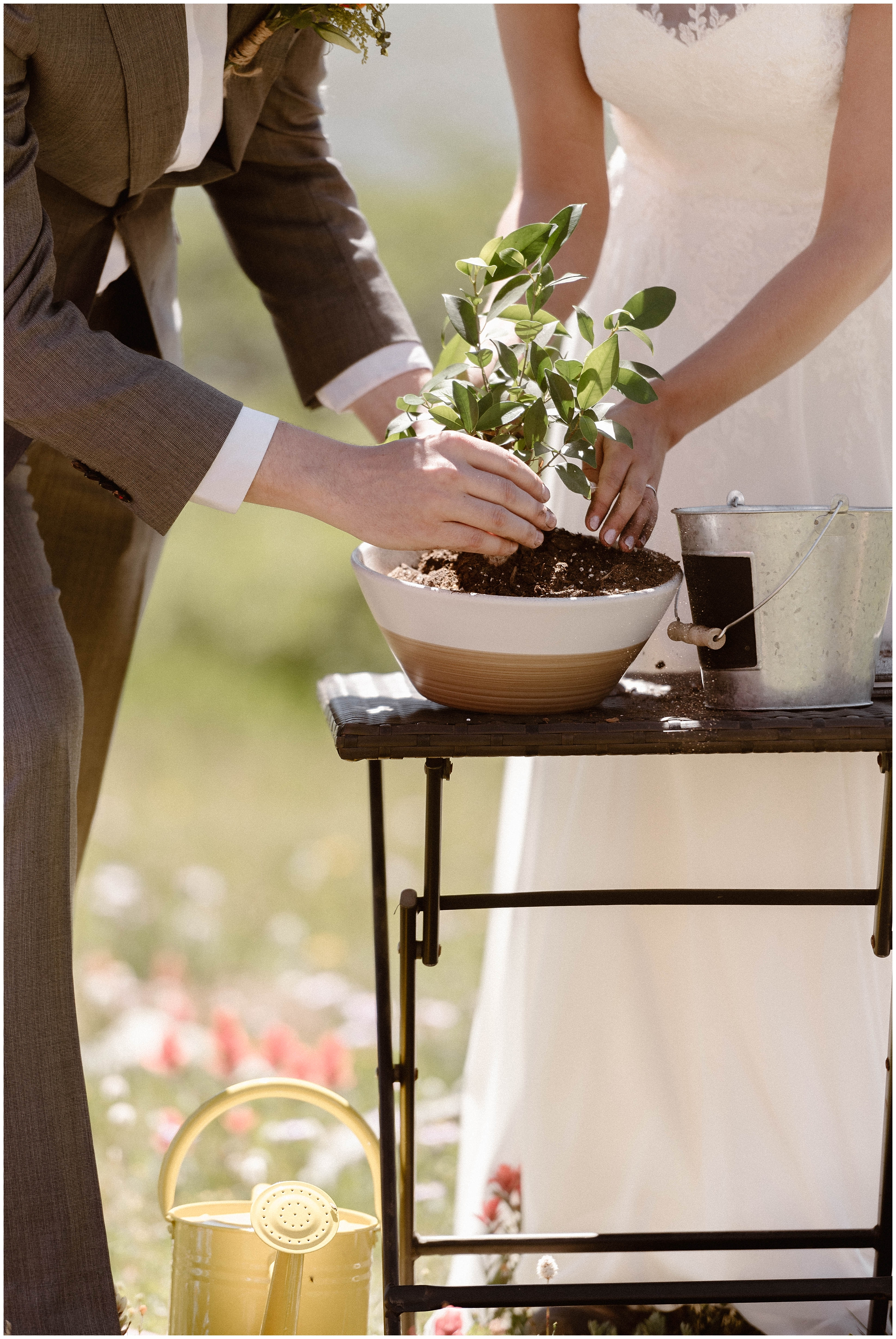 This close-up, small wedding photo, captured by Adventure Instead, an elopement photographer, shows a couple planting a small tree in a tiny bowl. The bride and the groom dirty their hands as they plant a tree together as a symbol of their unity.