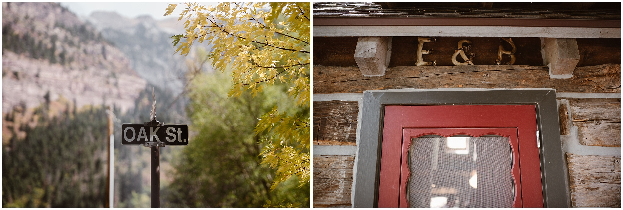 "In these side-by-side elopement photos captured by elopement wedding photographer Adventure Instead, the Ouray, Colorado cabin is shown . In the image on the left, a quaint street sign that says ""oak street"" is shown, and in the image to the right, the bright red door with dark trim has an ""E+B"" hanging over it, just one of the unique eloping ideas that Brian and Ernie included in their colorado elopement."