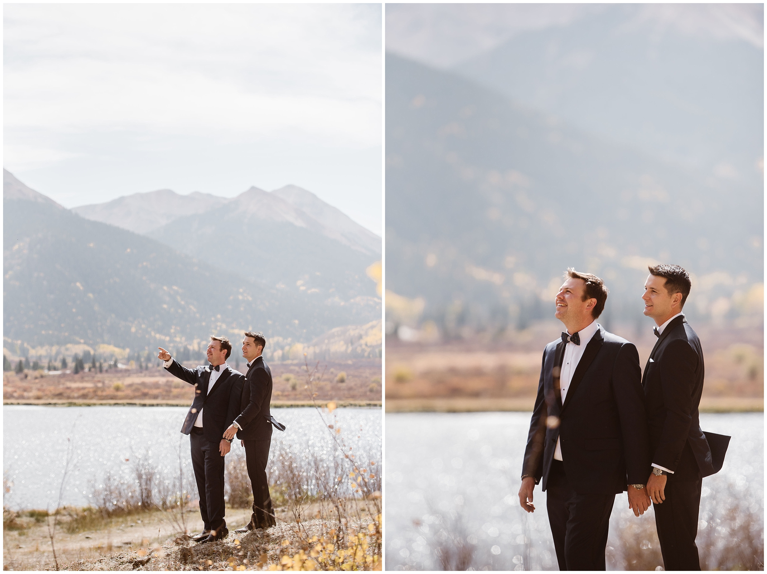 Brian and Ernie stand by the lake in these side-by-side elopement photos captured by Adventure Instead., a Colorado elopement photographer. In the photo on the left, the two grooms point up toward the mountain. In the photo on the right, the two look up at the golden and green mountains together.