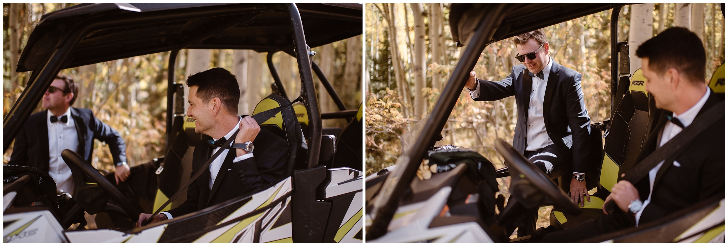 Brian and Ernie climb back into their side-by-side vehicle to make their way toward their off-road wedding location. Their 4x4 elopement was one of their unique eloping ideas they absolutely wanted to include in their elopement wedding.