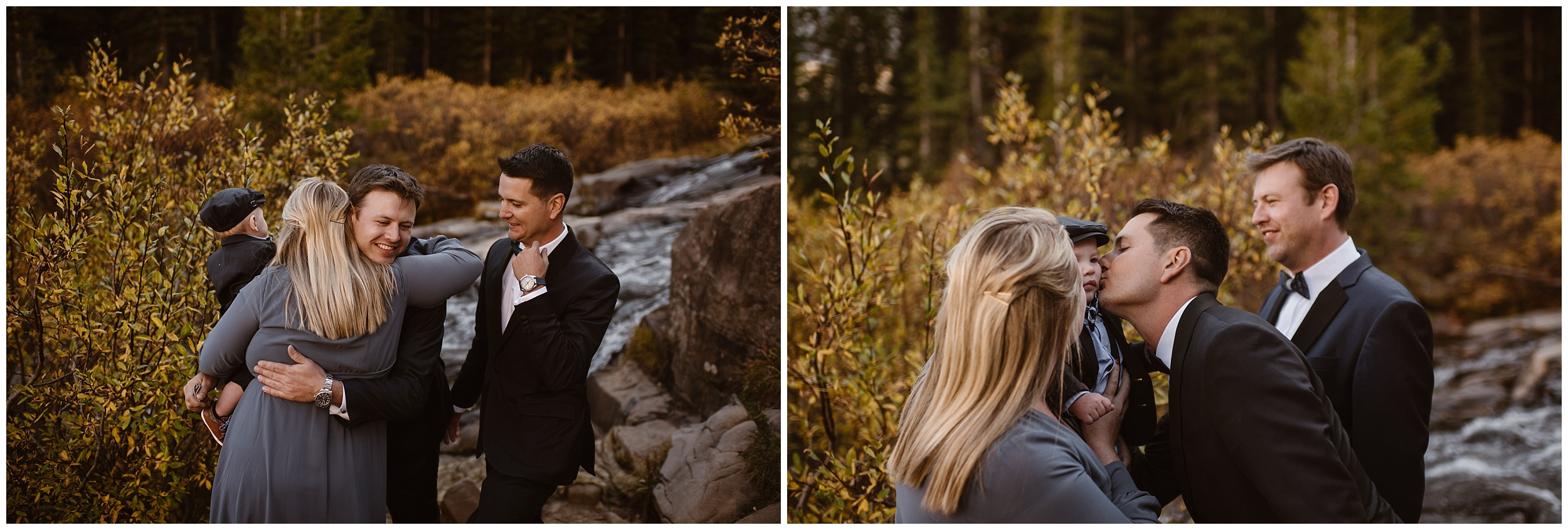 Brian and Ernie party after eloping by celebrating with family and kissing their 9-month-old godson in these side-by-side elopement photos captured by Colorado wedding photographer Adventure Instead.