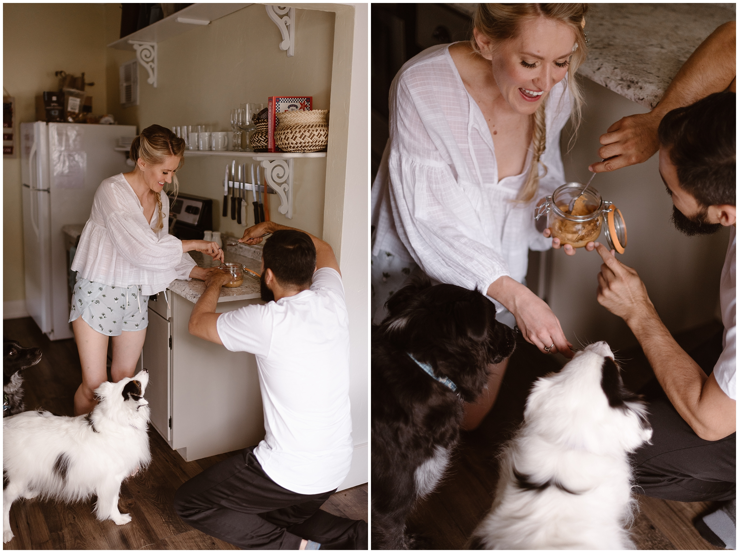 In these side-by-side elopement photos, a couple scoops peanut butter out of a jar to feed to their pups before their elopement ceremony—this unique eloping ideas includes your dog in your wedding and allows you have wedding photos with your dogs if you can't bring them to your ceremony.