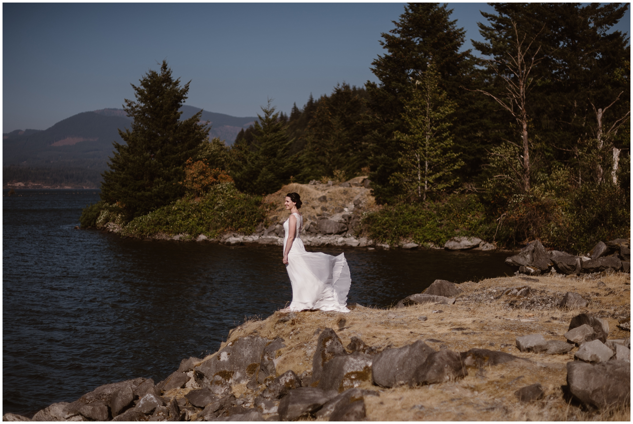 The bride, Lauryn, awaits her soon-to-be-husband for their first look before their elopement ceremony. They chose to have their small simple wedding in the Columbia River Gorge. This image was captured by Adventure Instead, an Oregon elopement photographer.