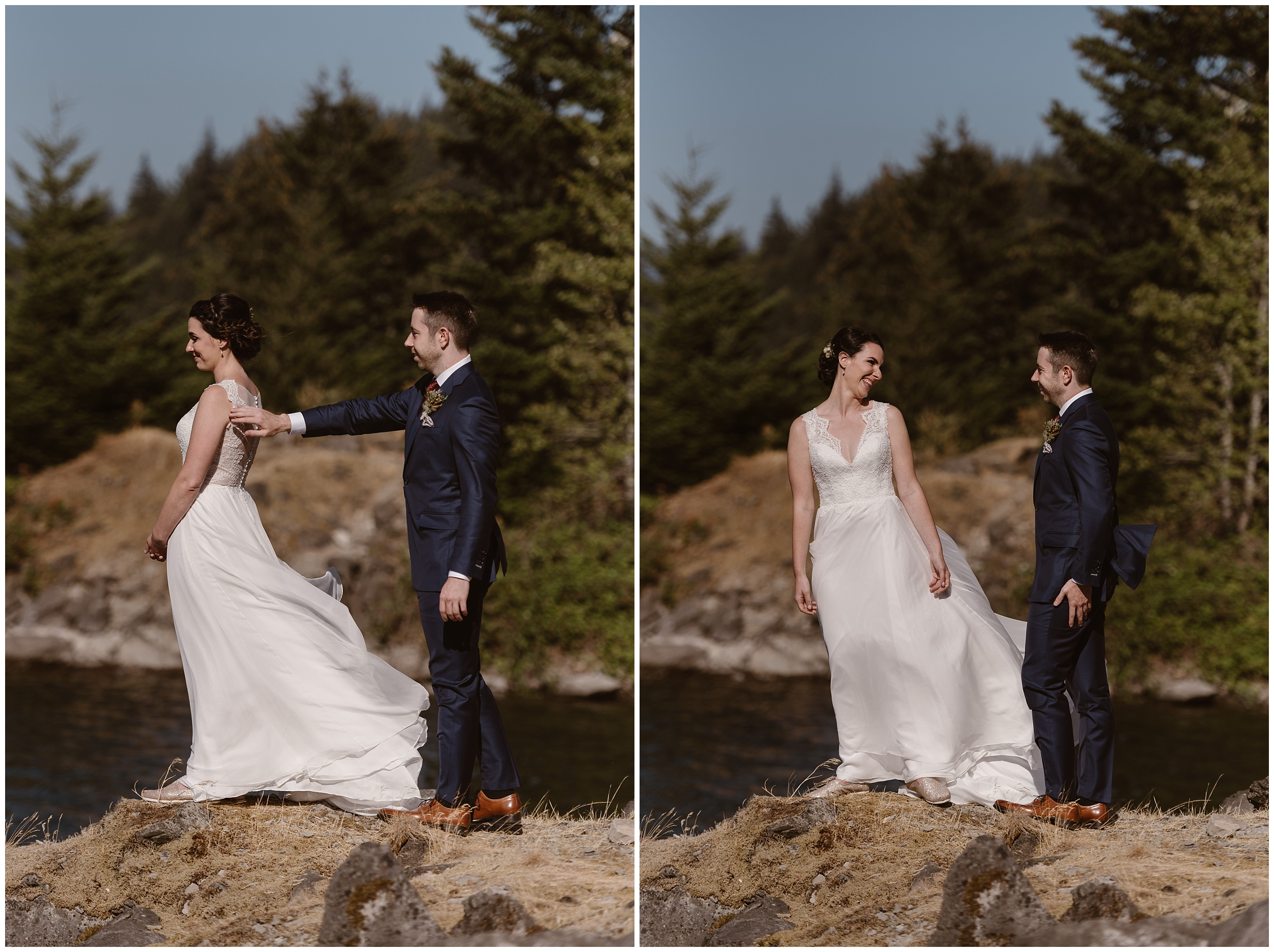 In these side-by-side elopement photos captured by Adventure Instead, a Portland elopement photographer, David sneaks up behind Lauryn and taps her on the shoulder for their first look before their Columbia River Gorge Elopement.