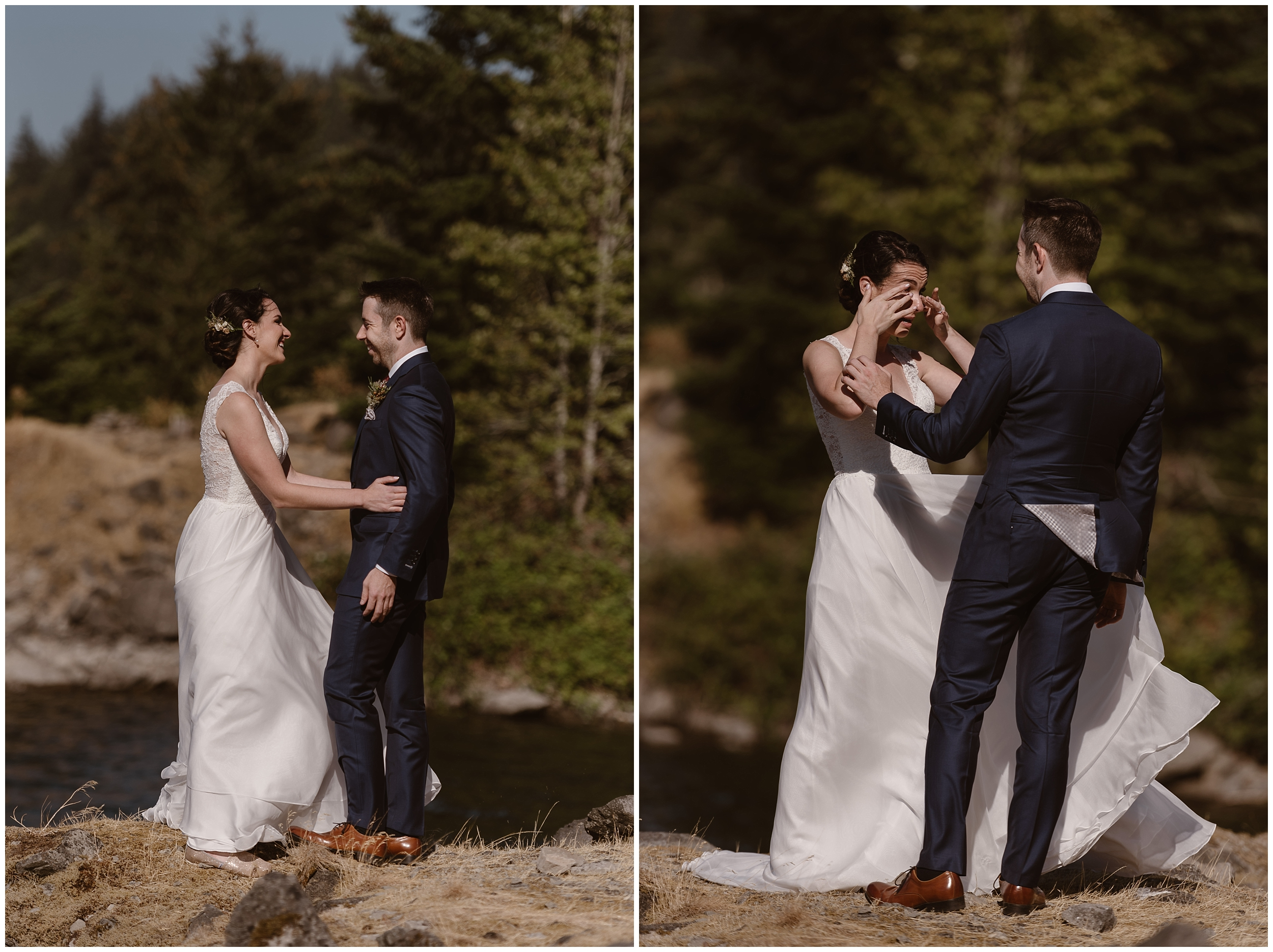 In these side-by-side elopement pictures, Lauryn and David, the bride and groom, take a few final looks at each other before they start their elopement ceremony. Lauryn wipes tears from her eyes in the photo on the right, and holds on tight to David in the photo on the left.