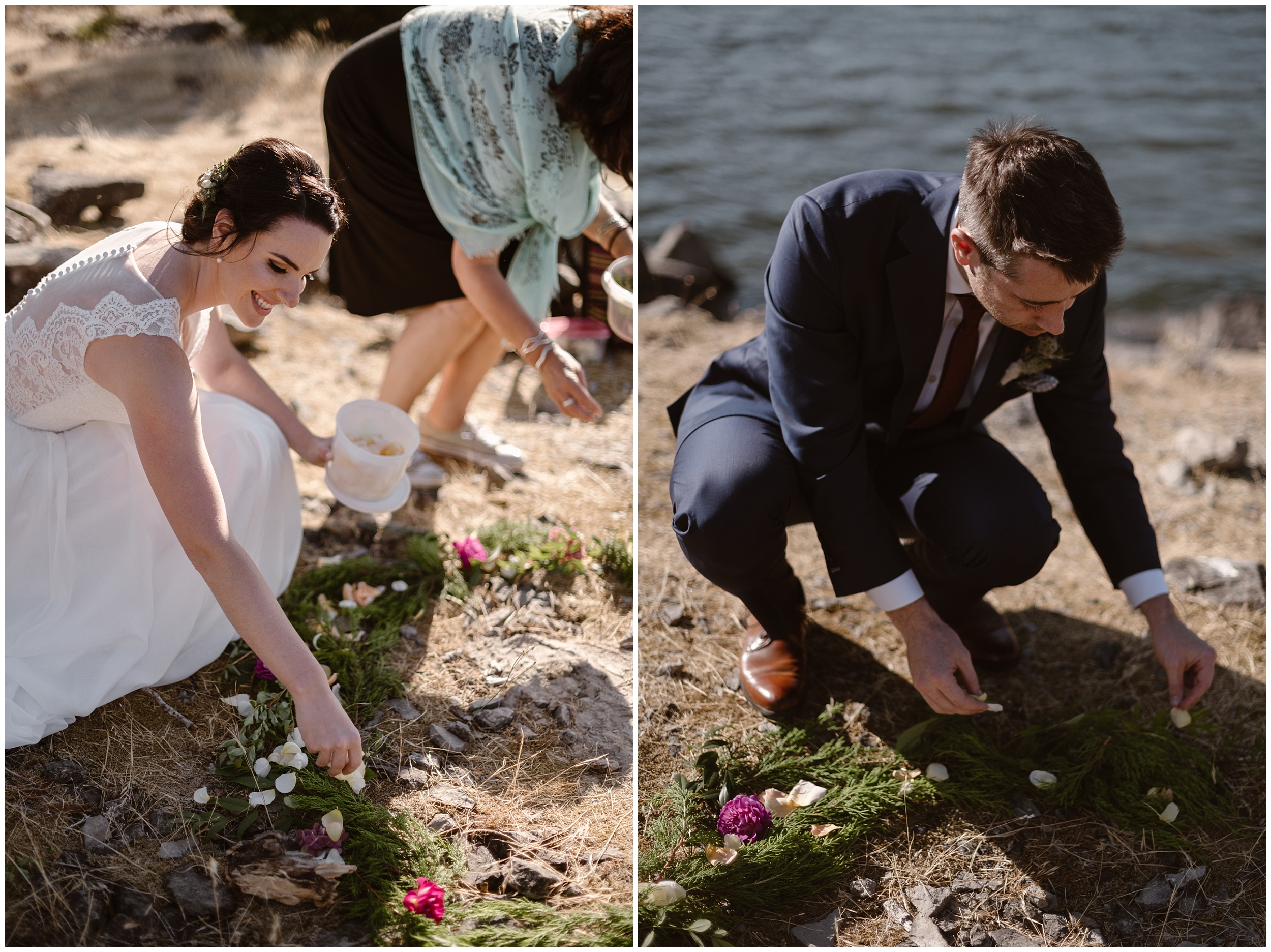 In these side-by-side elopement pictures, Lauryn and David delicately place flowers in a circle at their feet—one of their unique eloping ideas was to get married while standing within this floral circle that they'd help construct during their elopement ceremony.