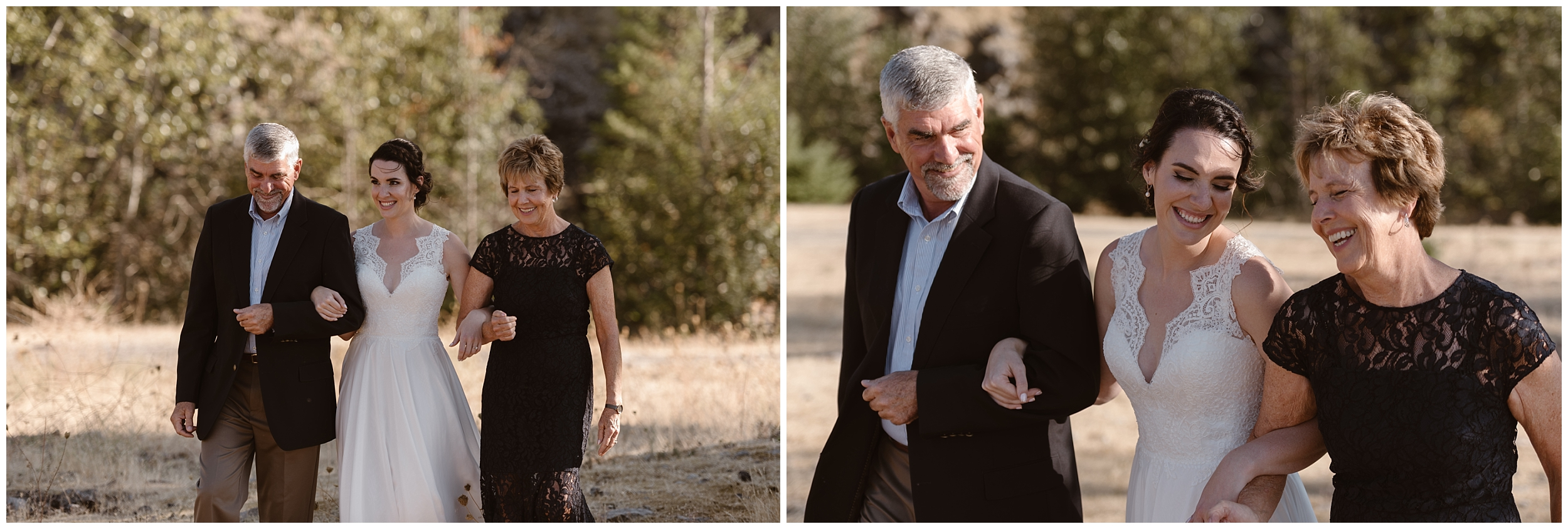 These side-by-side elopement pictures, captured by Oregon elopement photographer Adventure Instead, show Lauryn, the bride, and her parents, walking down the aisle, in a manner of speaking. Lauryn and David chose to elope with family in Oregon, making their Columbia River Gorge elopement more of a small simple wedding.