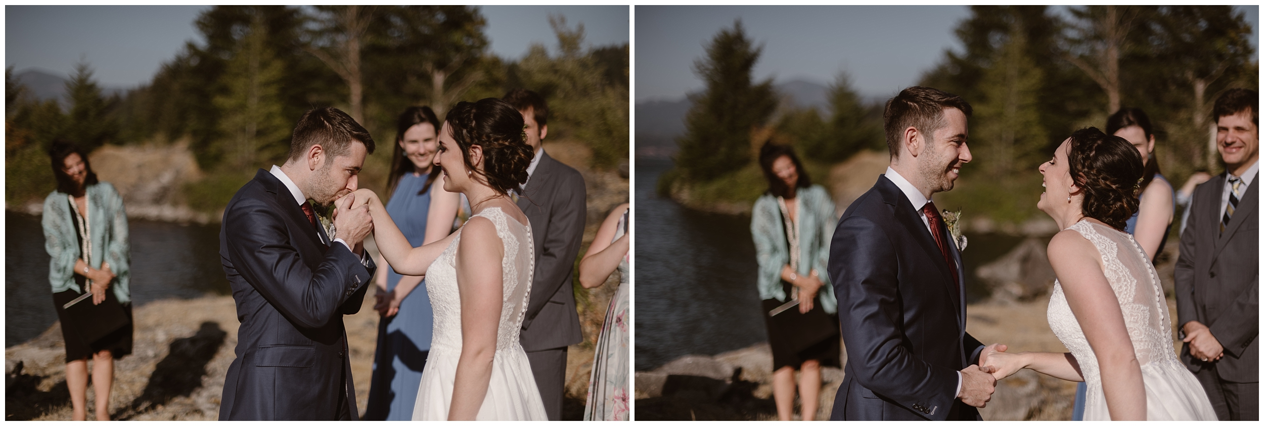 These side-by-side elopement pictures show Lauryn and David in the moments before their Columbia River Gorge elopement ceremony. David takes Lauryn's hand and kisses it in the photo on the left, and she leans in close to laugh with him in the photo on the right.