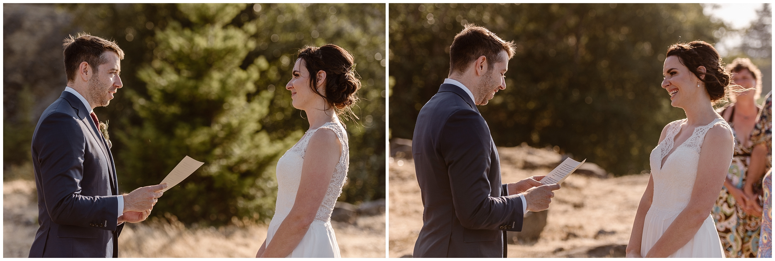 These side-by-side elopement pictures show David, the groom, reading his personal vows to his bride, Lauryn , during their Oregon elopement ceremony at the Columbia River Gorge.