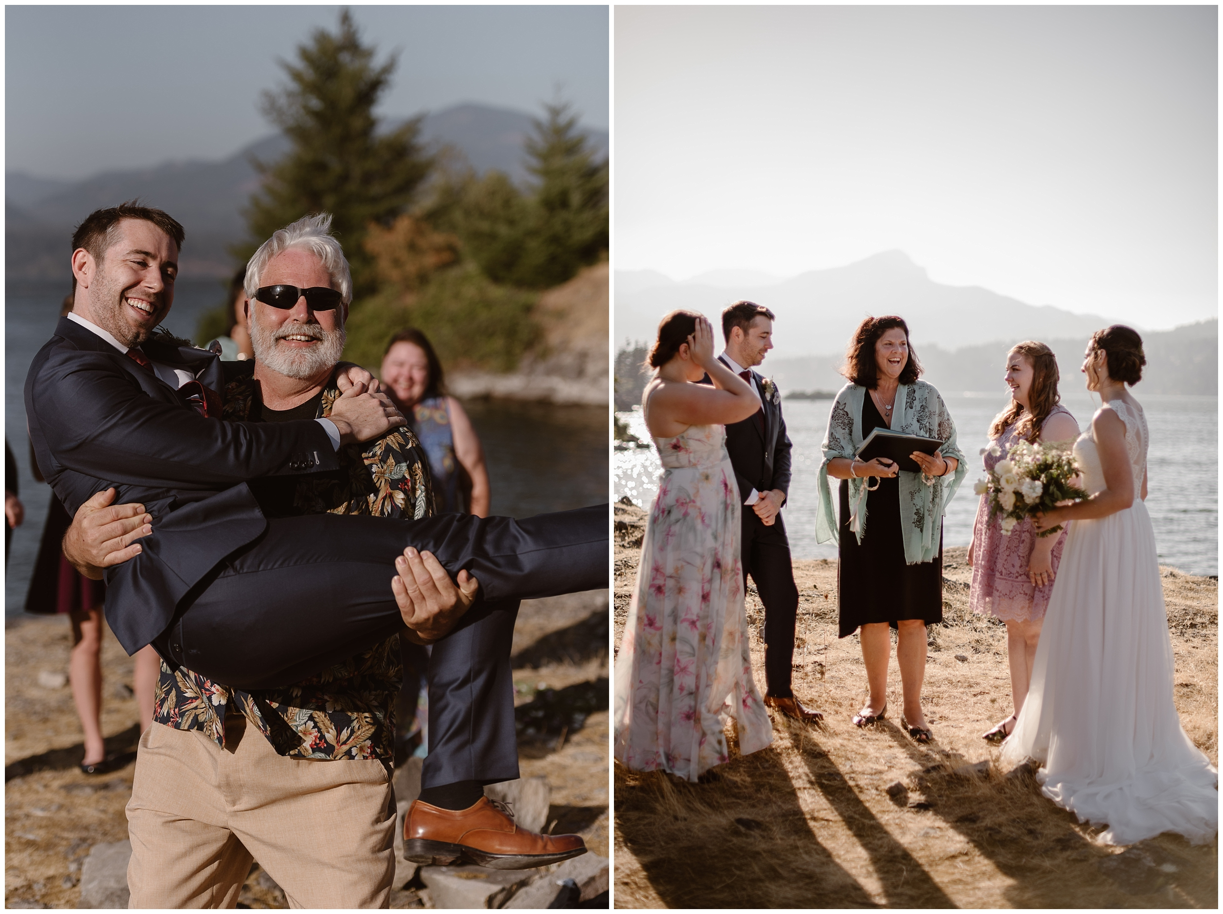 These side-by-side elopement pictures show family and friends celebrating with the bride and groom immediately after their elopement ceremony in the Columbia River Gorge. In one photo, a man picks up the groom and poses with him for an elopement photo.
