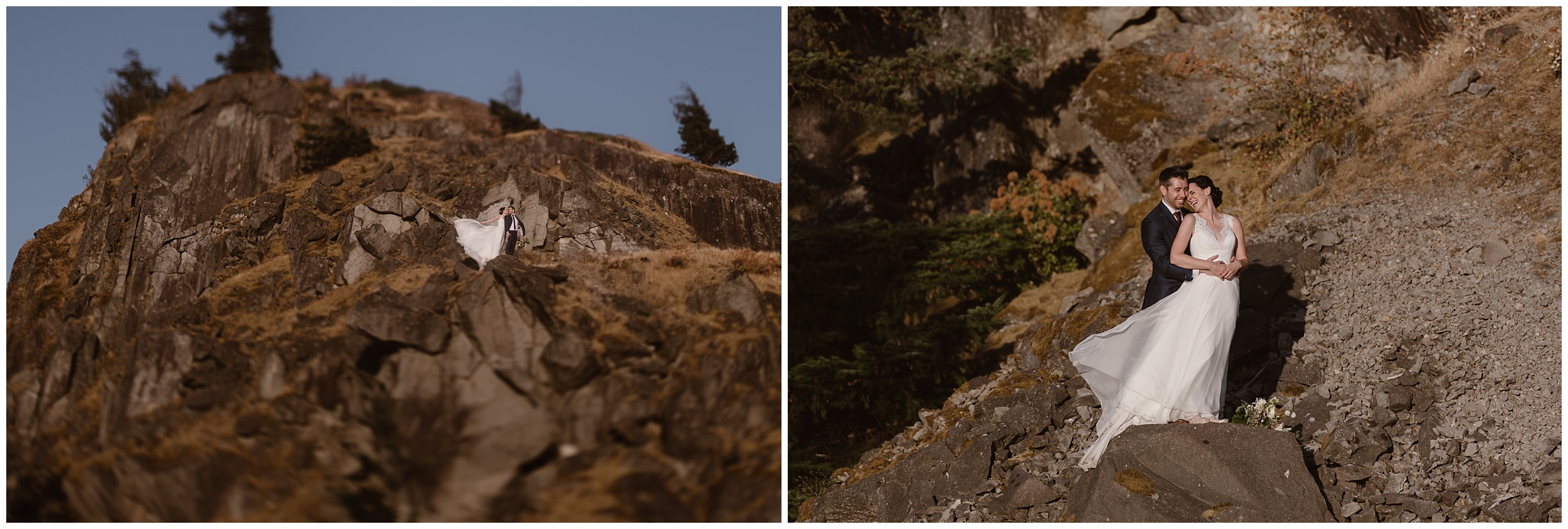 These side-by-side elopement pictures show Lauryn and David scrambling up the side of a craggy rock face in the Columbia River Gorge. When they get to the top of the rock, they hold each other close.