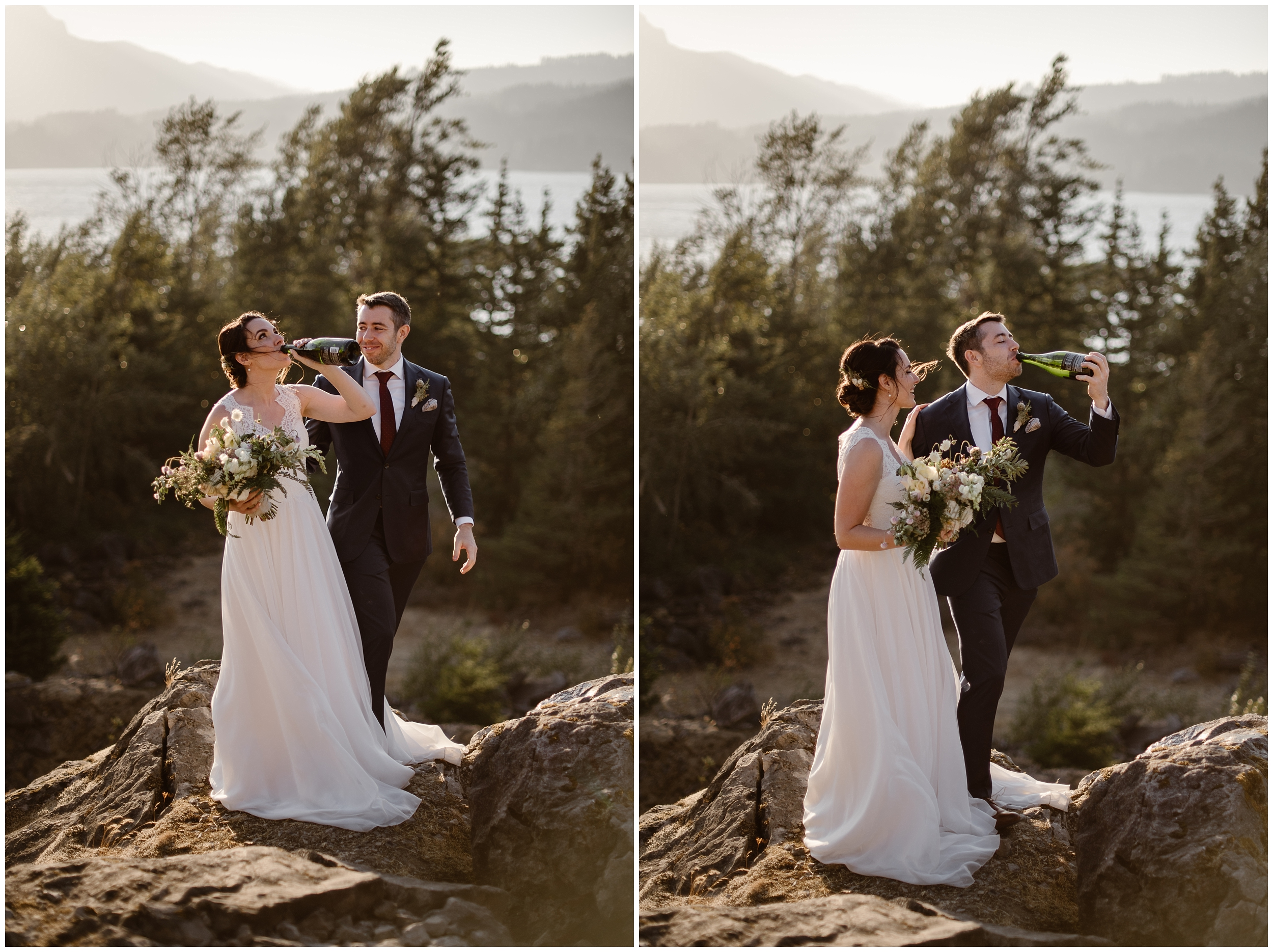 Lauryn and David both take a swig of their celebratory champagne in these side-by-side elopement photos captured by Portland elopement photographer Adventure Instead.