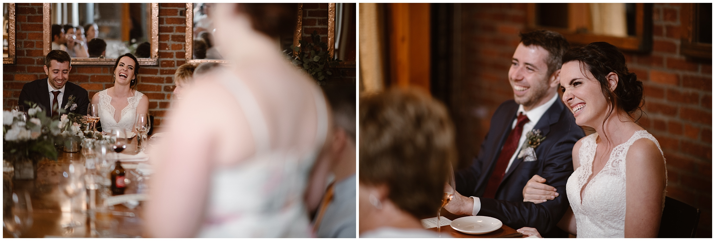 These side-by-side elopement photos show Lauryn and David during their reception after elopement in a swanky Portland restaurant. Total foodies, one of their unique eloping ideas was to get married somewhere in nature but close enough to a city to eat delicious food.