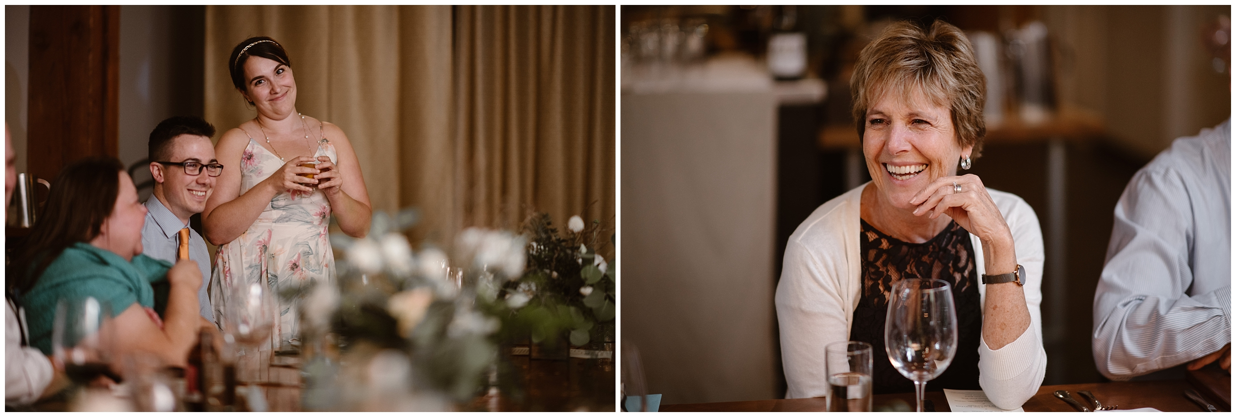 Family members laugh, toast, and cheer in these side-by-side elopement pictures captured by Adventure Instead, a Portland elopement photographer. These photos were captured at a Portland restaurant during their party after eloping.
