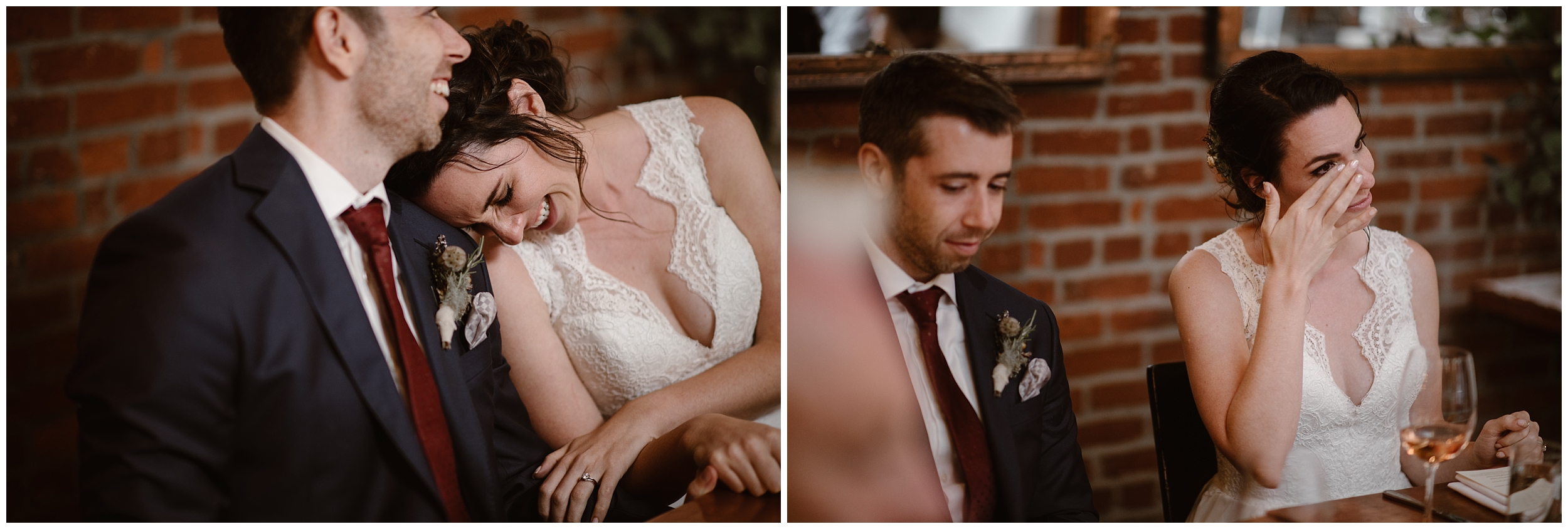 Lauryn leans in on David's shoulder and wipes away tears in these side-by-side elopement pictures captured by Oregon elopement photographer Adventure Instead. Lauryn gets emotional prior to a toast from a family member during the party after eloping