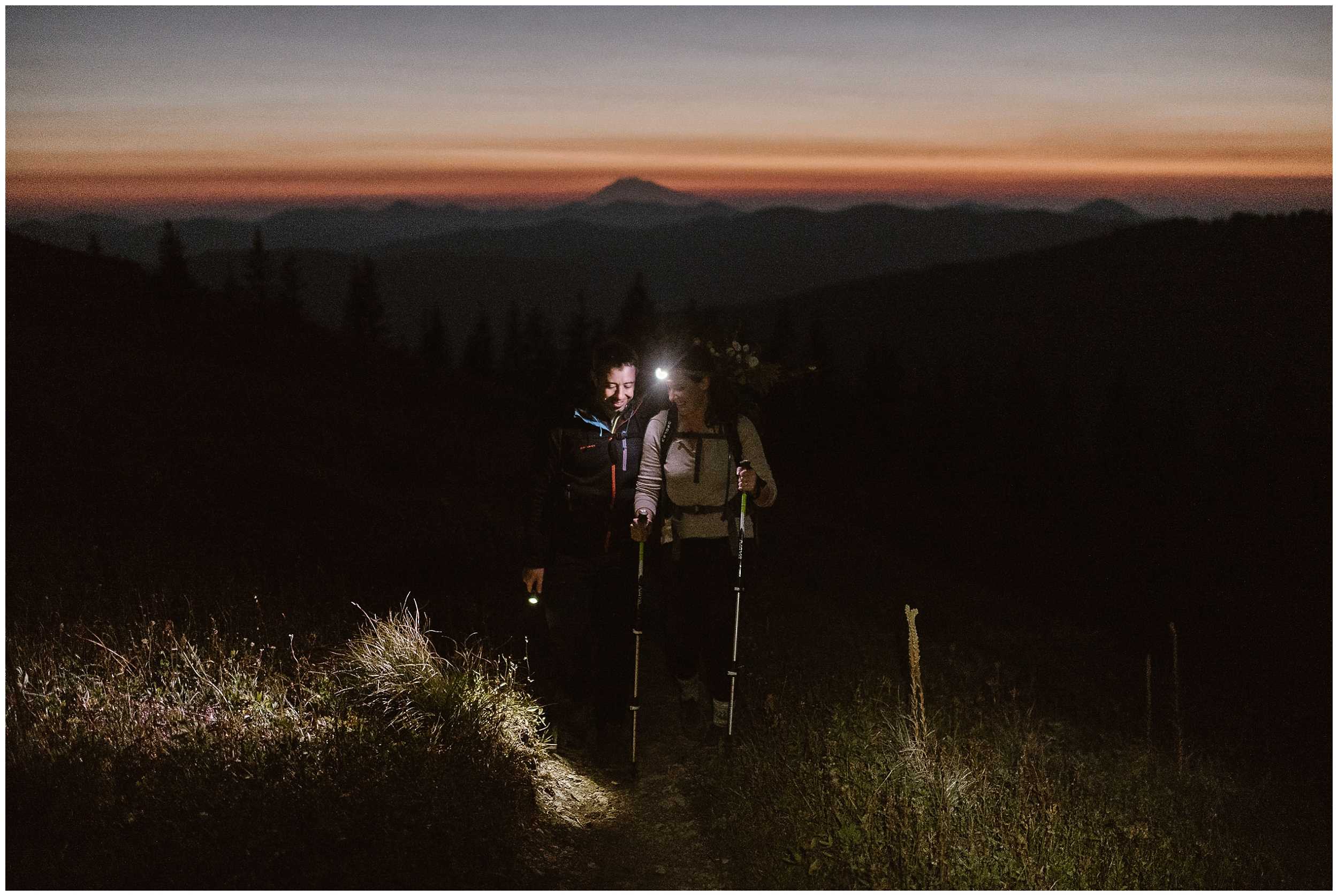 Lauryn and David begin the second part of their elopement ceremony as they hike a Washington trail in total darkness. With nothing but their headlamps to guide them, the two begin the second part of their North Cascades elopement.
