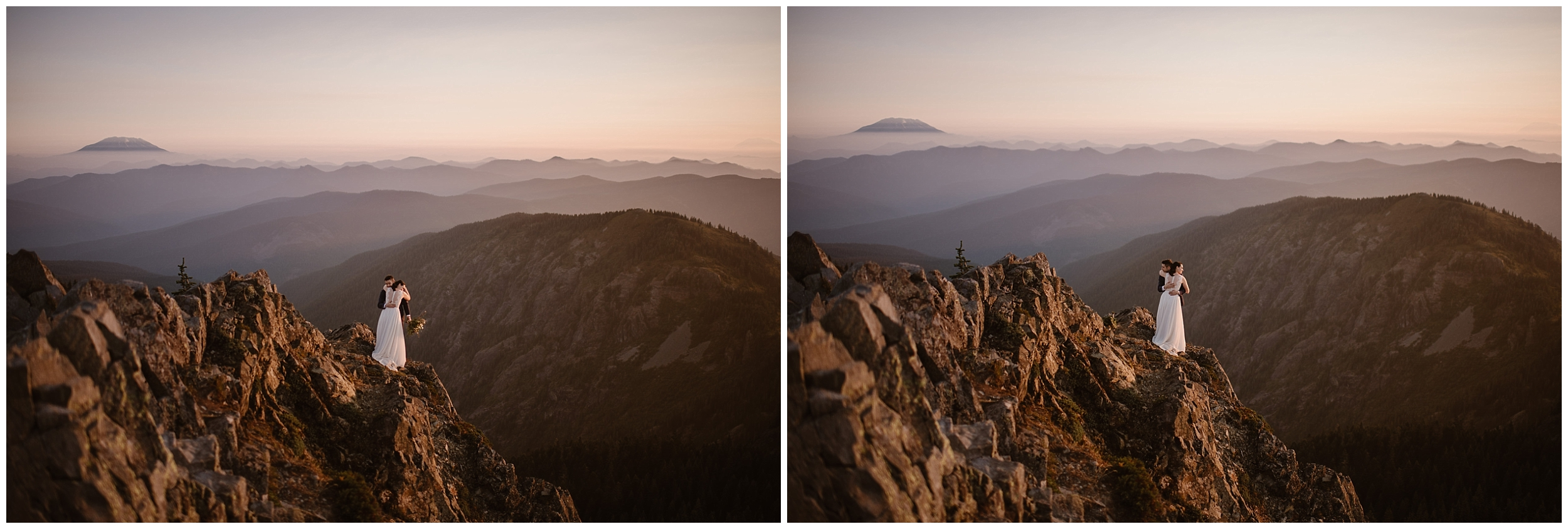 These side-by-side elopement photos captured by Washington state elopement photographer Adventure Instead shows Lauryn and David hugging close as the sun rises at the top of their mountain hike.