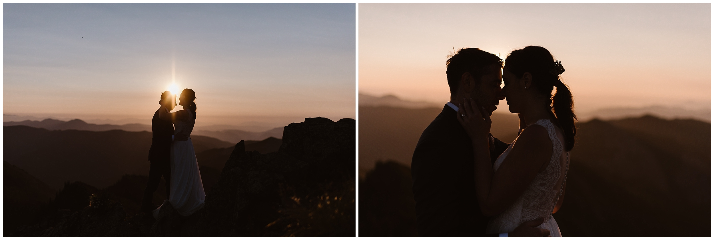 Lauryn and David are silhouetted by the sun in these sunrise elopement photos captured by Adventure Instead. The two lean in close during their North Cascades Wedding.