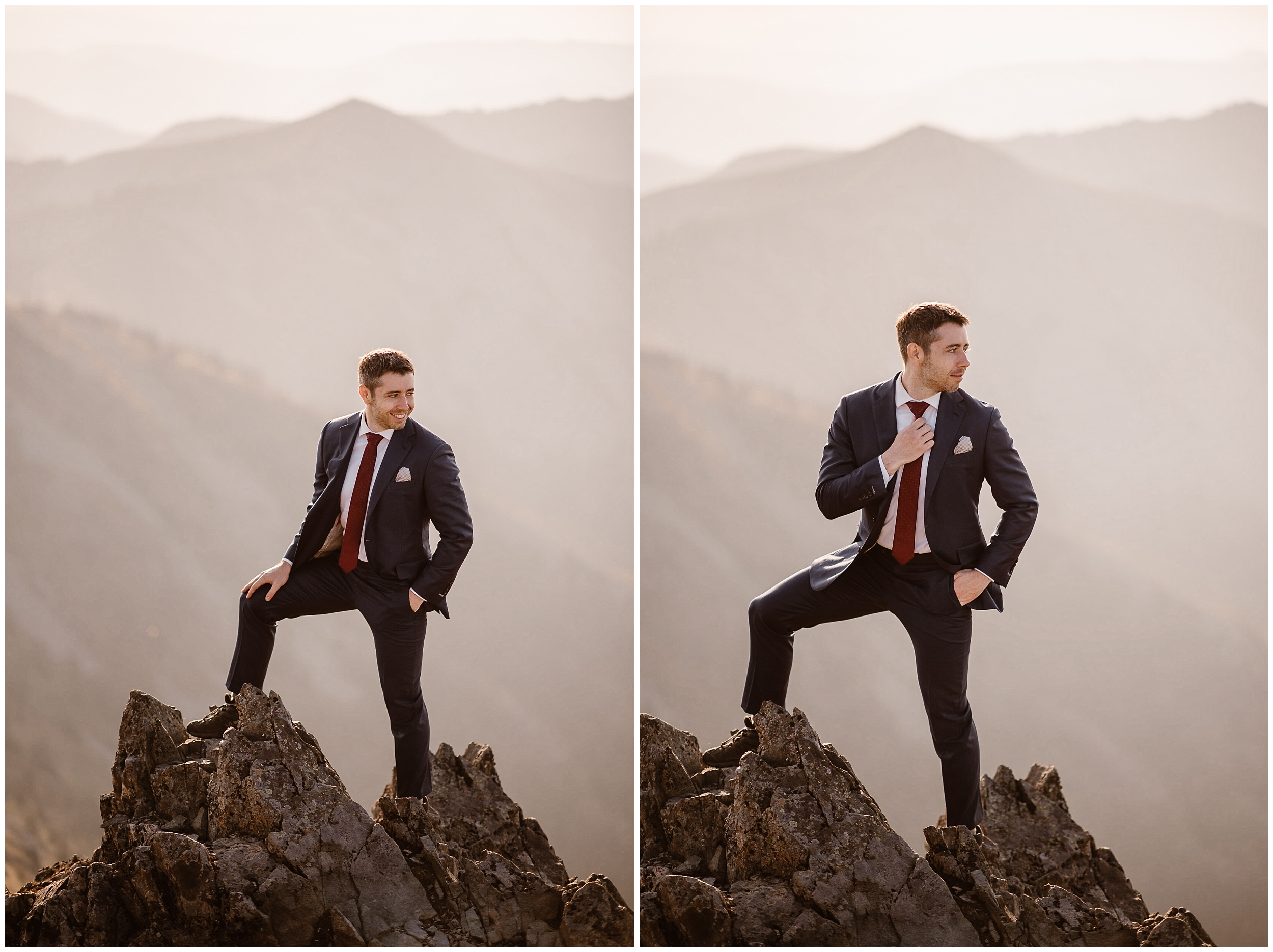 David, the groom, poses at the top of the mountain for portrait style elopement pictures captured by elopement wedding photographer Adventure Instead.