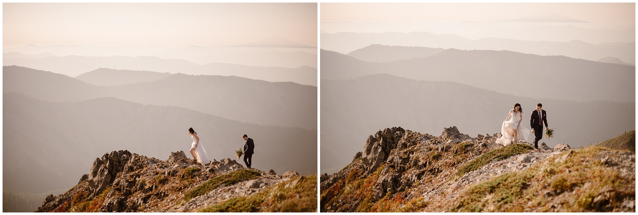 In the distance, Lauryn and David can be seen hiking up to the top of the mountain in these side-by-side elopement photos captured by Adventure Instead