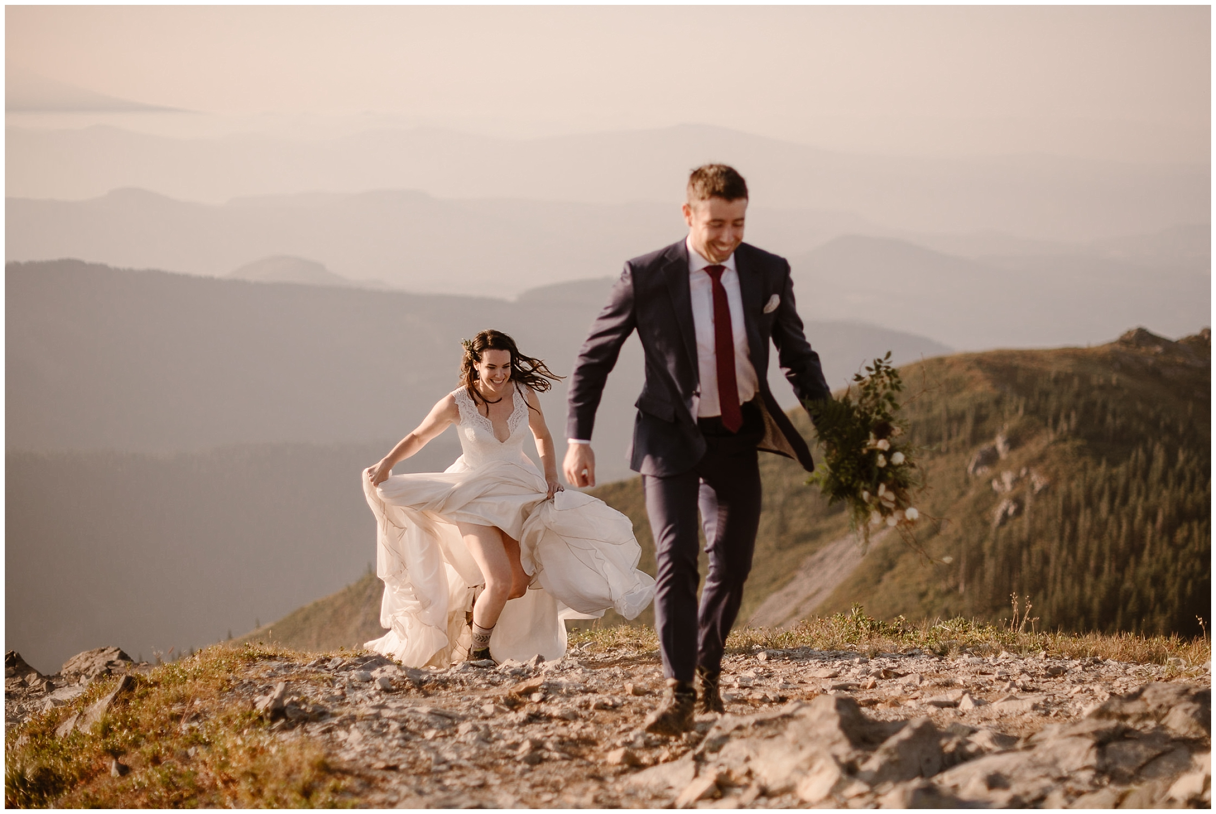 Laurny chases after David during their hike to the top of the Washington mountain. David, hold her bouquet of flowers, treks up in the mountain in his suit.