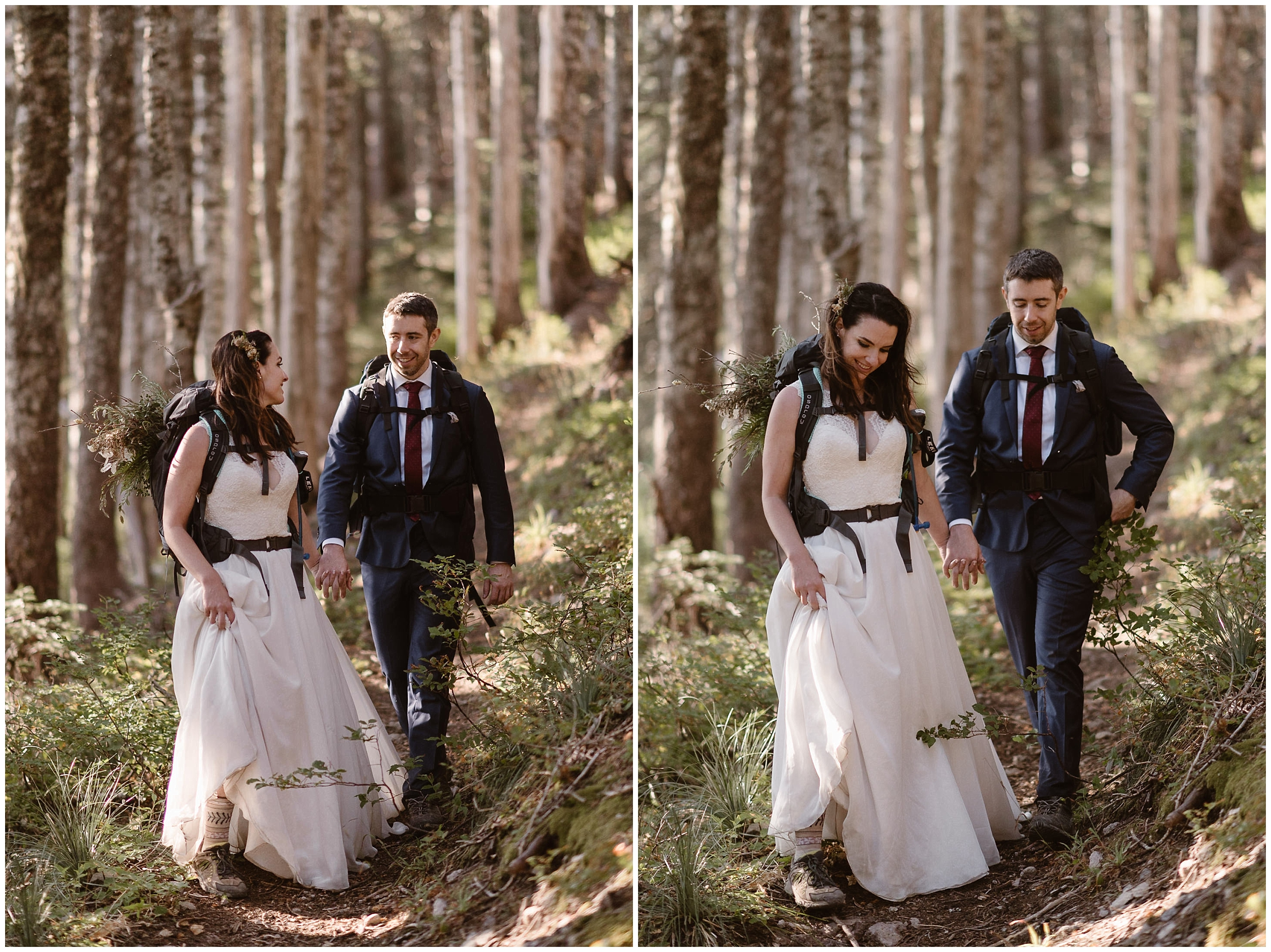 Still in their wedding attire, Lauryn and David hike back down the mountain from where they just elope in Washington state. Their North Cascades wedding was one of the many free places to get married in Washington state.