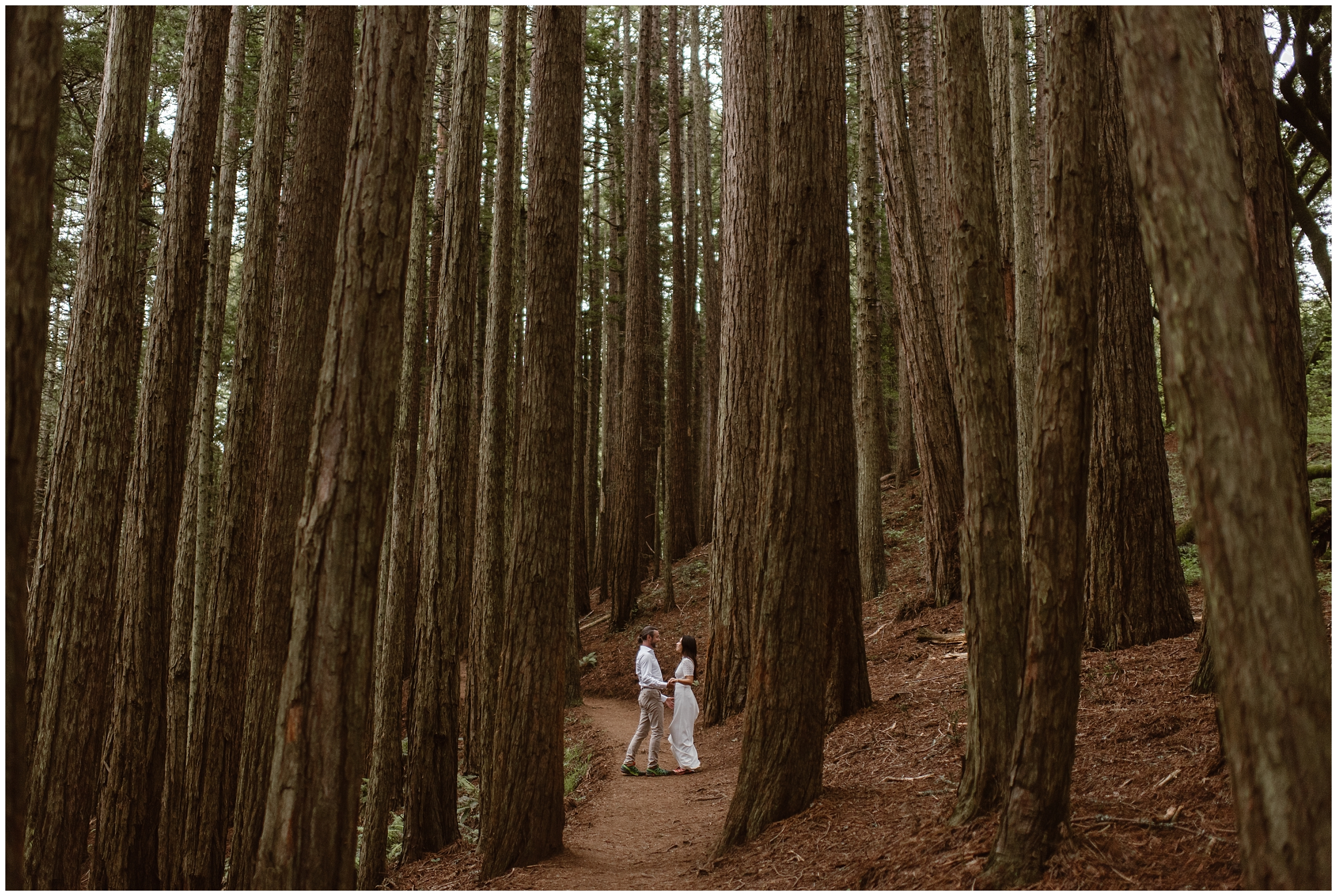 A bride and groom hold hands and embrace as they say their vows to each other in a wooded forest in the pacific northwest. This adventure elopement was part of a destination elopement in Washington.