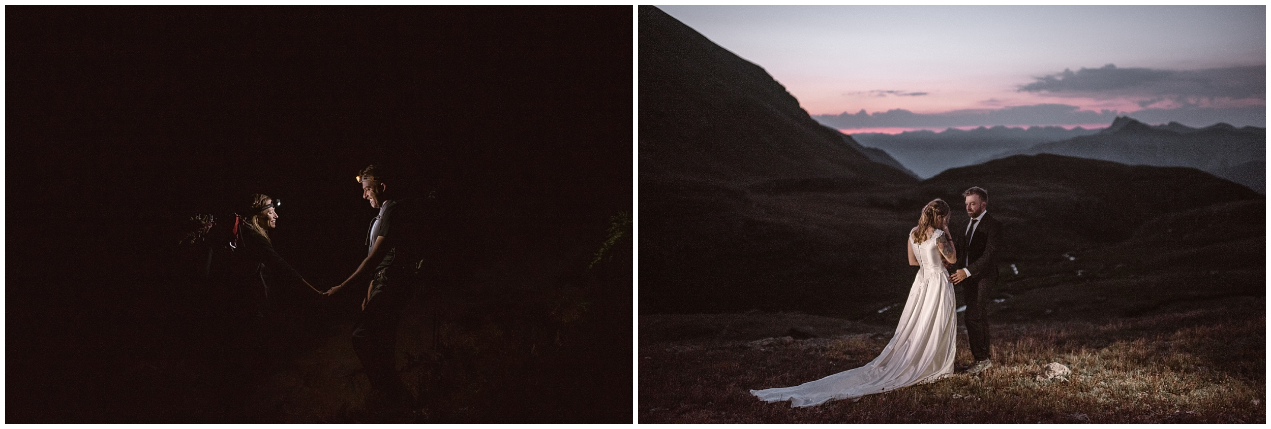 Brecka and Nick, the bride and groom, hold each other close in these side-by-side elopement photos. They hiked up to their elopement location in the dark by the light of a headlamp, then had their first look as the sun rose — one of the benefits of eloping.