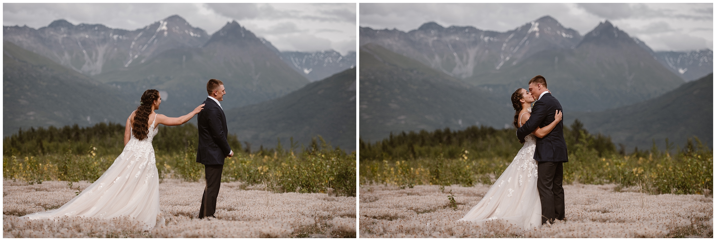These side-by-side elopement pictures, captured by elopement wedding photographer Adventure Instead, show off a first look between Jordyn and Connor, a couple who had a destination elopement in Alaska.