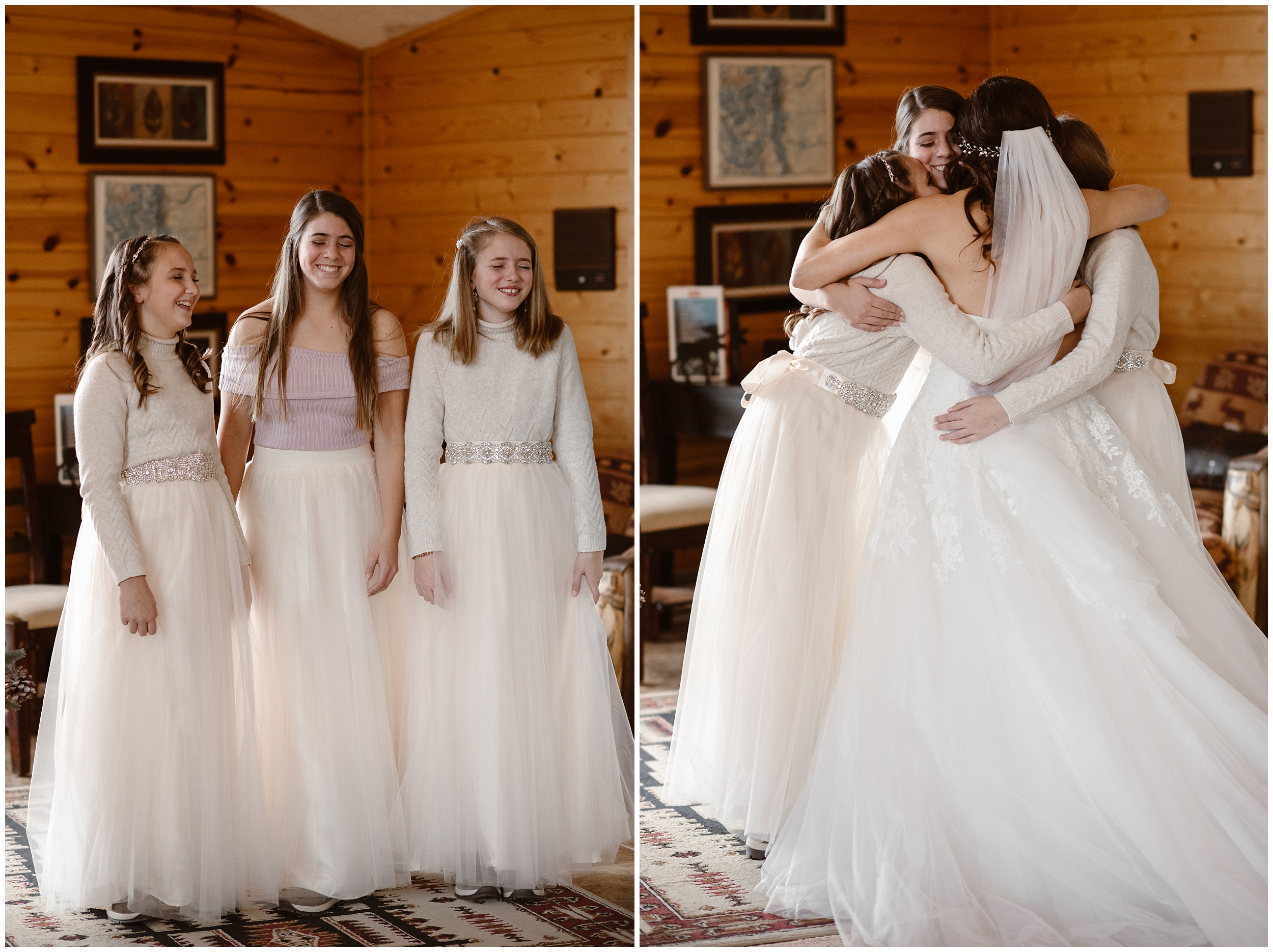 In these side-by-side elopement pictures captured by Adventure Instead, a bride does a first look with her three daughters, one of the unique eloping ideas this family wanted to include in their elopement ceremony.