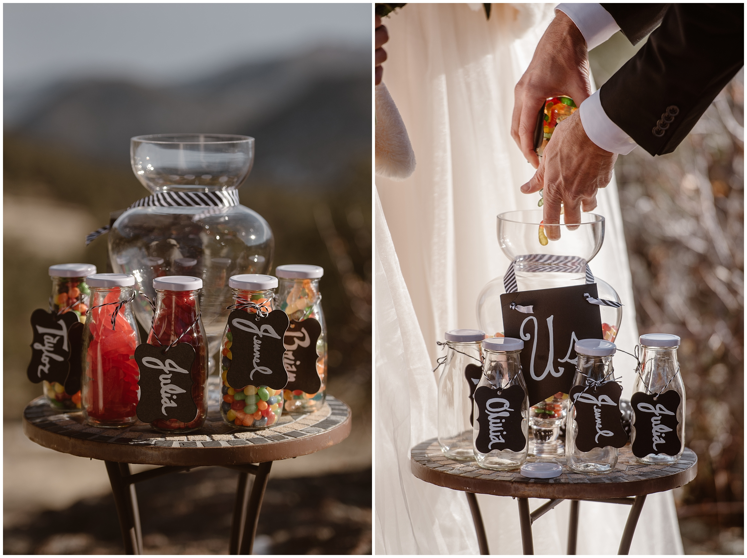 These side-by-side elopement photos show an elopement ceremony idea for including a child in the wedding ceremony — candy jars! That's one of the benefits of eloping, you can incorporate any type of elopement ceremony into your destination elopement ceremony.