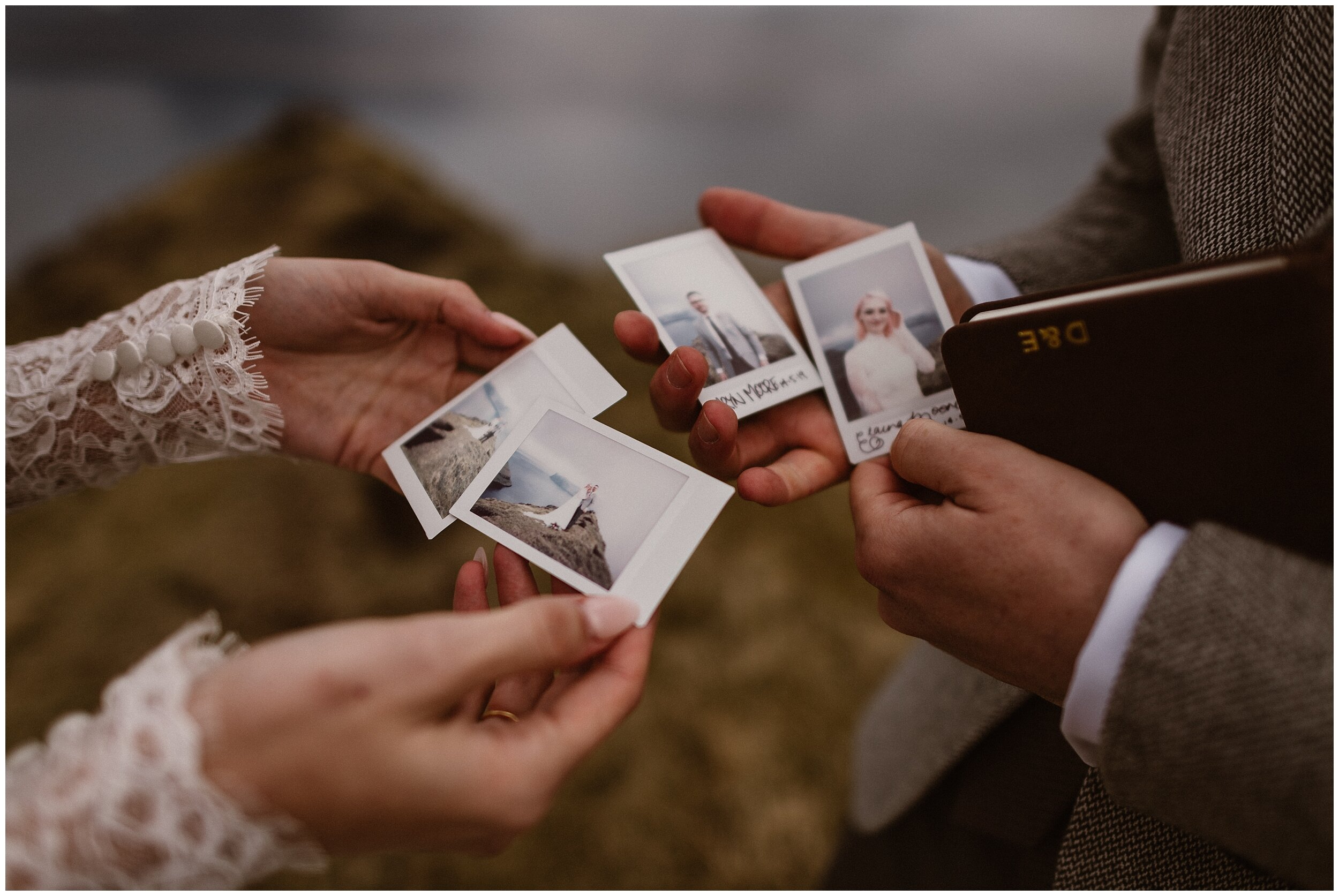 One of the unique details Elaura and Daryn, the bride and groom, wanted to include in their elopement ceremony was to bring their own vintage polaroid camera so they could capture pictures of eachother, sign, and date them. This was one of the eloping ideas was specifically unique to what they wanted for their Faroe Islands destination elopement.