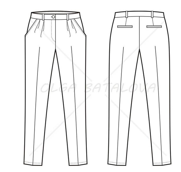 Fashion Flat Example: Plus Size Woman Trouser.
