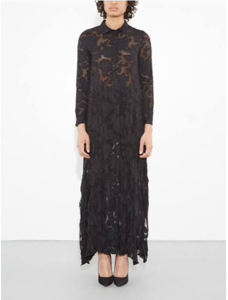 A/OK MAKES DRESS - Must-have long sleeve collared sheer dress with button down front, side slits and floral lace motif throughout. Wear  it over shorts, wear it over pants, wear it with a nude or black bandeau top, wear it with your favorite crops. All around amazing piece for spring and it's in stock in ALL SIZES right now - rare for the good pieces that actually have the detailing to make the price legitimate. $125 here.