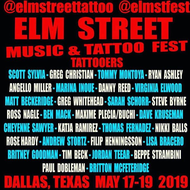 @elmstfest this weekend in #dallas @Steve_byrne_tattoo and @katjaramirez have time to do #tattoos they also have books flash prints and T-shirt's go find them at @rockofagestattoo booth today