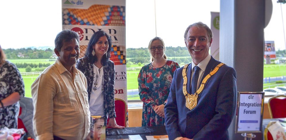 At the dlr Age Well Expo 2019 ,Forum members Reji, Pooja and Viola with An Cathaoirleach Councillor Shay Brennan.jpg