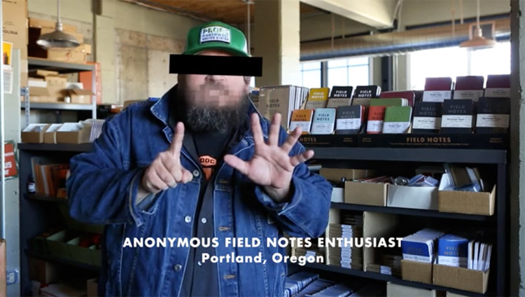 "Best part of the Unexposed promo video: ""Anonymous"" Field Notes Enthusiast. :D (image captured from  this video )"