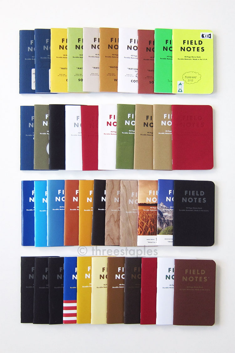 Field Notes from April 2012 to December 2014. Not pictured: 10+ books used as travel journals.