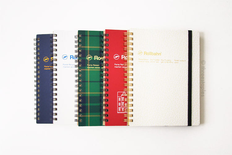 I think I'm good for now. The green plaid one is a holiday edition from 2014, and the red one commemorates the restoration of the Tokyo Station's Marunouchi side. The far right one has textured cover with gold spiral.