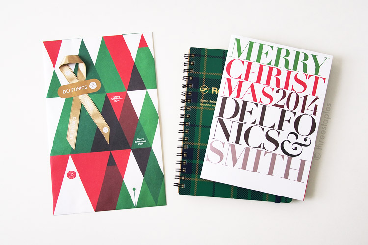 Beautiful packaging (left) and Christmas catalog (right) by Delfonics. Notice the nib in the pattern of the paper bag.