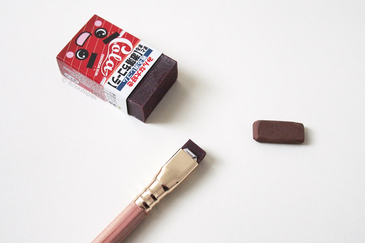 I decided brown still looks the best with Vol. 211, so I looked for a brown eraser and found this silly, Cola-scented eraser. Unlike the other erasers (they're scented, too), this scent lasts, and I like it. :)