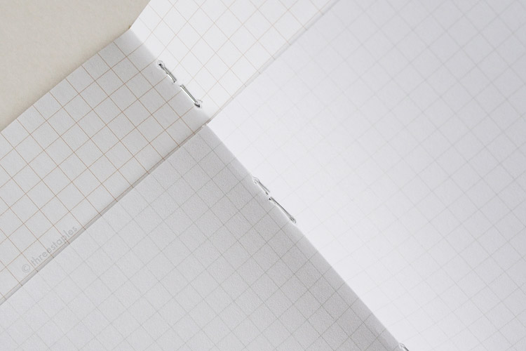 White staples of Snowblind, compared to the silver-colored staples of the Original kraft Field Notes.